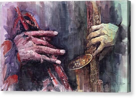 Miles Davis Canvas Print - Jazz Batle Of Improvisation by Yuriy Shevchuk