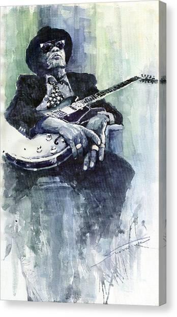 Jazz Canvas Print - Jazz Bluesman John Lee Hooker 04 by Yuriy Shevchuk