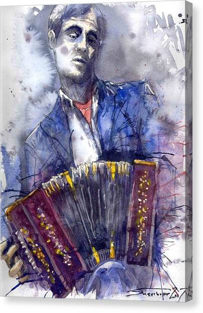 Mardi Gras Canvas Print - Jazz Concertina Player by Yuriy Shevchuk