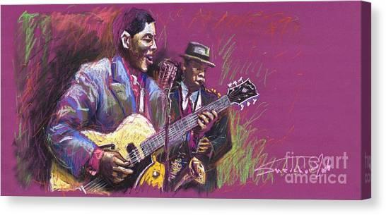 Pastel Canvas Print - Jazz Guitarist Duet by Yuriy Shevchuk