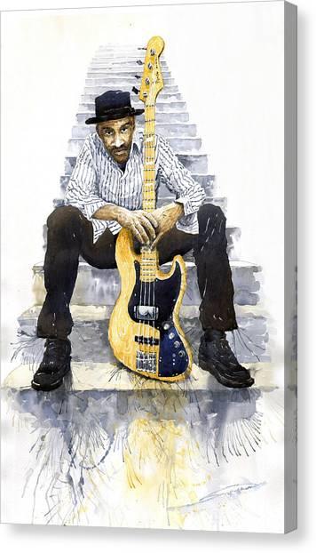 Watercolour Canvas Print - Jazz Marcus Miller 4 by Yuriy Shevchuk