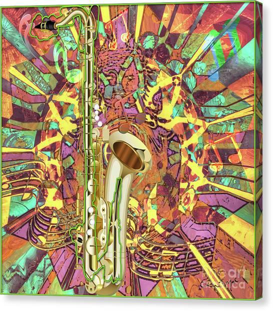 Canvas Print featuring the digital art Jazz Me Up by Eleni Mac Synodinos