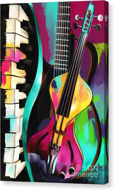 Classical Guitars Canvas Print - Jazz by Melanie D