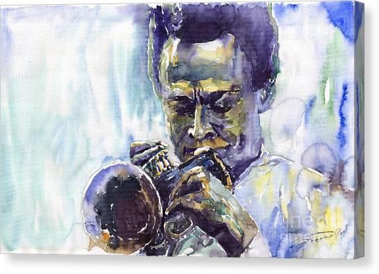 Miles Davis Canvas Print - Jazz Miles Davis 10 by Yuriy Shevchuk