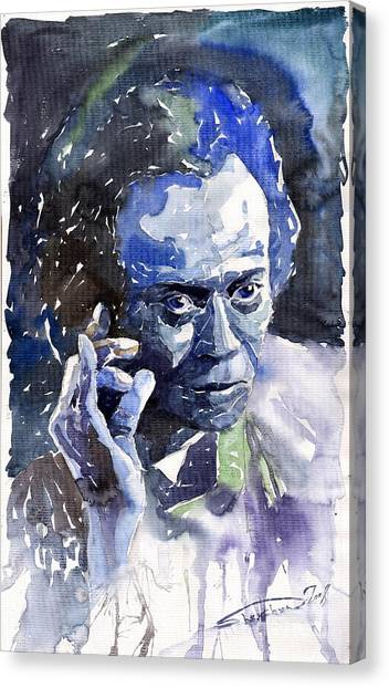 Miles Davis Canvas Print - Jazz Miles Davis 11 Blue by Yuriy Shevchuk