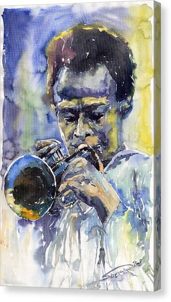 Wind Instruments Canvas Print - Jazz Miles Davis 12 by Yuriy Shevchuk