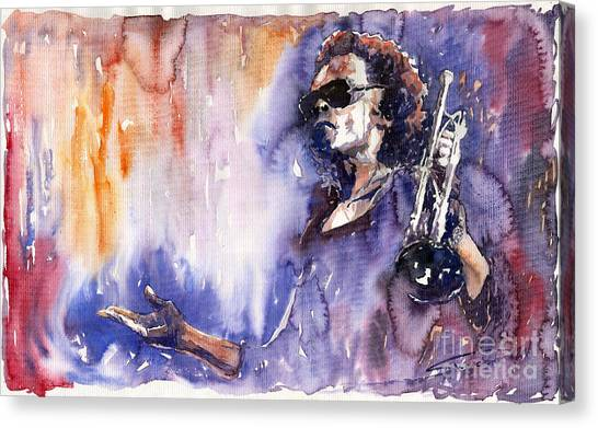 Music Canvas Print - Jazz Miles Davis 14 by Yuriy Shevchuk