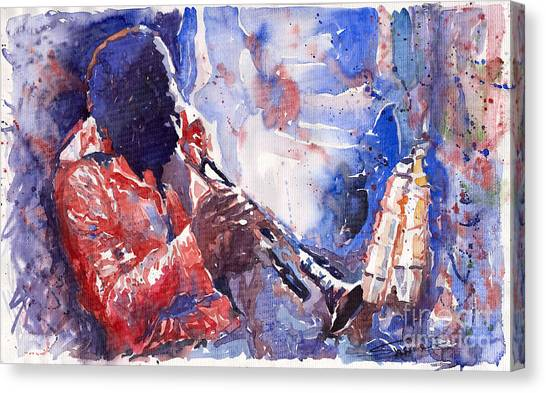 Music Canvas Print - Jazz Miles Davis 15 by Yuriy Shevchuk