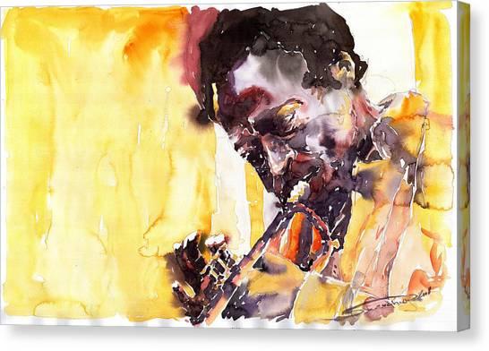Miles Davis Canvas Print - Jazz Miles Davis 6 by Yuriy Shevchuk