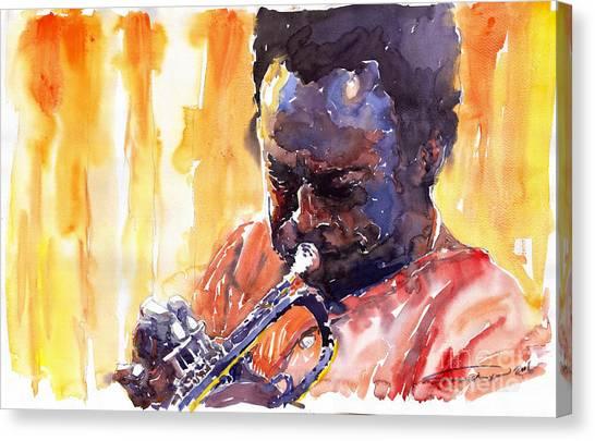Trumpeters Canvas Print - Jazz Miles Davis 8 by Yuriy Shevchuk