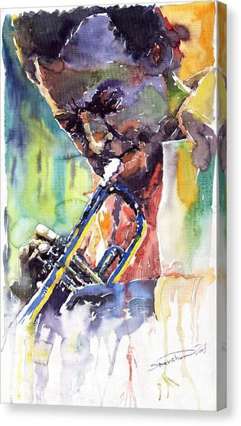 Miles Davis Canvas Print - Jazz Miles Davis 9 Blue by Yuriy Shevchuk