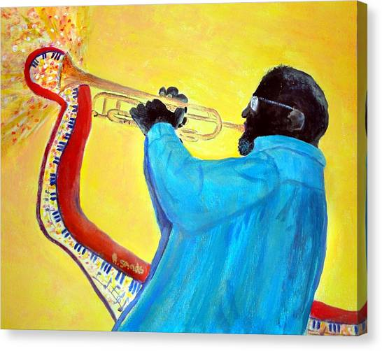 Jazzy Trumpet Player Canvas Print