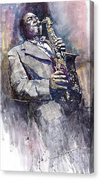 Jazz Canvas Print - Jazz Saxophonist Charlie Parker by Yuriy Shevchuk