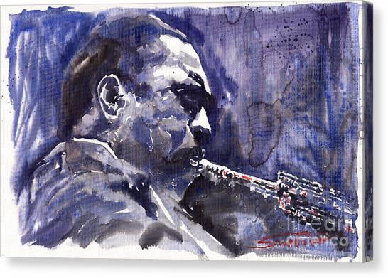 Saxophone Canvas Print - Jazz Saxophonist John Coltrane 01 by Yuriy Shevchuk