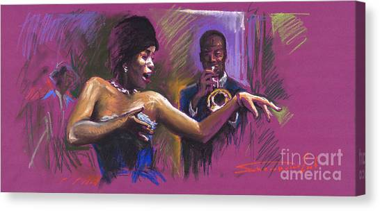 Trumpets Canvas Print - Jazz Song.2. by Yuriy Shevchuk