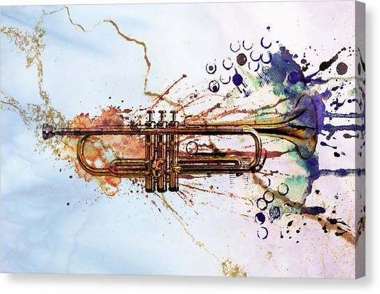 Trumpets Canvas Print - Jazz Trumpet by David Ridley
