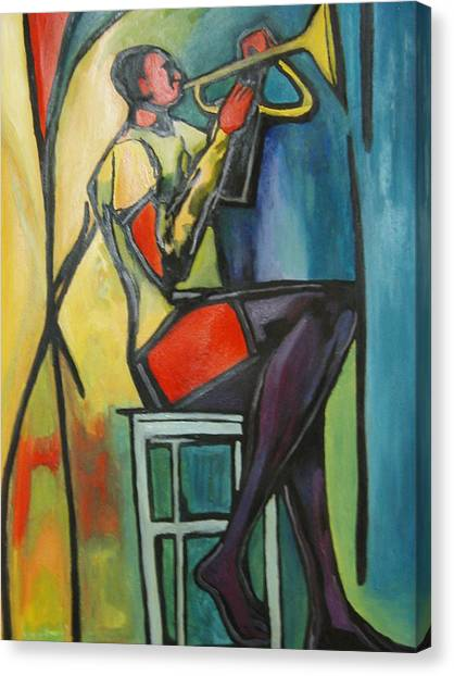 Jazz Trumpet Player Canvas Print by Angelo Thomas