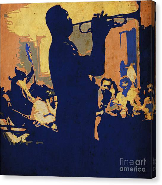 Trumpet Canvas Print - Jazz Trumpet Player by Drawspots Illustrations