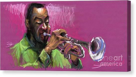 Pastel Canvas Print - Jazz Trumpeter by Yuriy Shevchuk