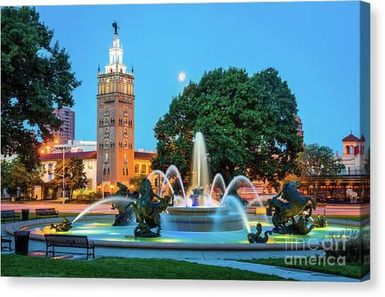 J.c. Nichols Memorial Fountain Canvas Print