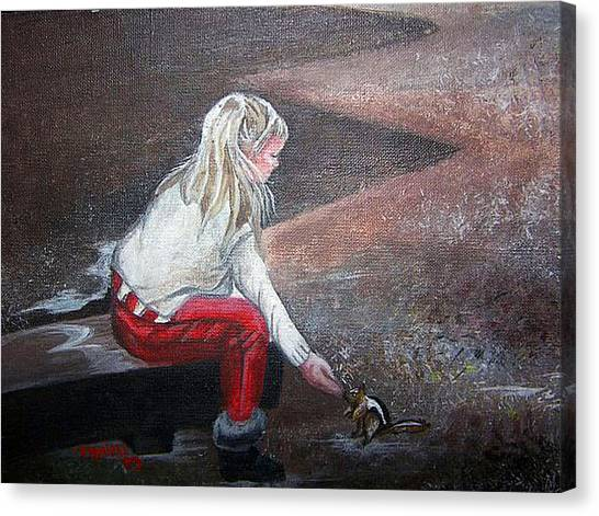Jeannie Feeding Squirrel Canvas Print by Tammera Malicki-Wong