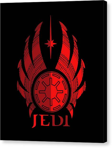 Jedi Canvas Print - Jedi Symbol - Star Wars Art, Red by Studio Grafiikka