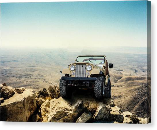 Jeep On A Mountain Canvas Print