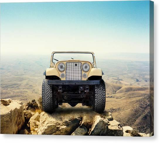 Jeep On Mountain Canvas Print