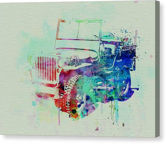 Old Cars Canvas Print - Jeep Willis by Naxart Studio