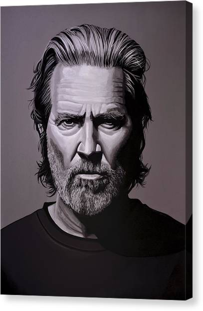 Crazy Canvas Print - Jeff Bridges Painting by Paul Meijering