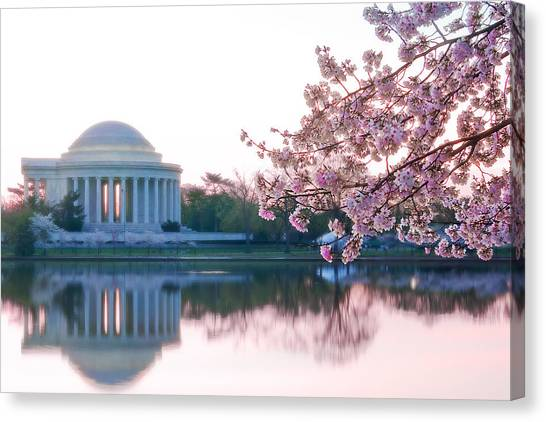 Jefferson Memorial Canvas Print - Jefferson At Sunrise by Don Lovett