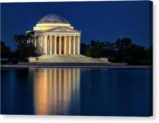 Jefferson Memorial Canvas Print - Jefferson Memorial At Twilight by Andrew Soundarajan