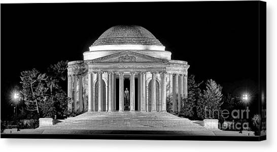 Jefferson Memorial Canvas Print - Jefferson Memorial Lonely Night by Olivier Le Queinec