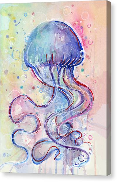 Jellies Canvas Print - Jelly Fish Watercolor by Olga Shvartsur