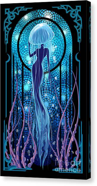 Canvas Print featuring the painting Jellyfish Mermaid by Sassan Filsoof