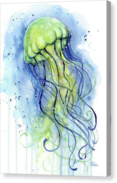 Ocean Life Canvas Print - Jellyfish Watercolor by Olga Shvartsur