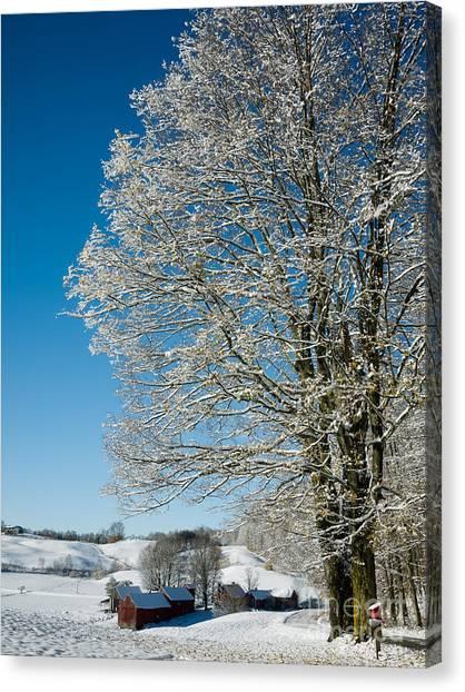 Vermont Canvas Print - Jenne Farm Winter In Vermont by Edward Fielding
