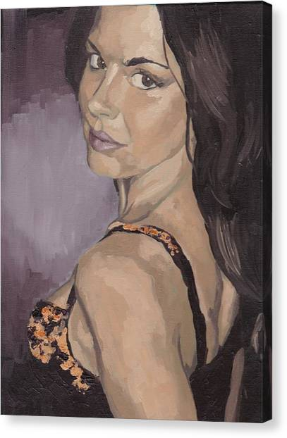 Canvas Print featuring the painting Jenny In Black by Stephen Panoushek