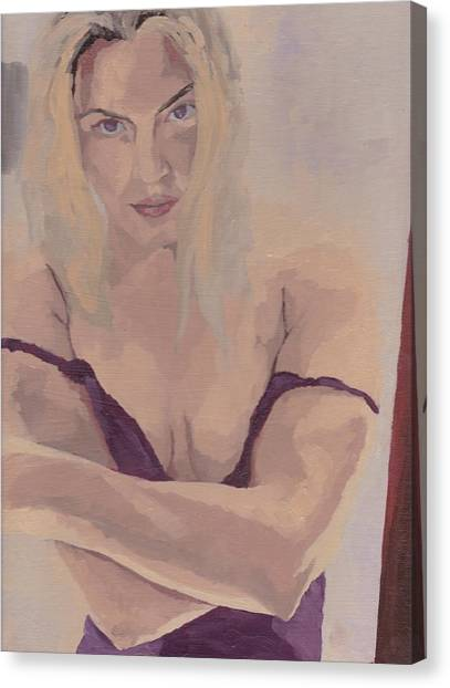 Canvas Print featuring the painting Jenny In Purple by Stephen Panoushek