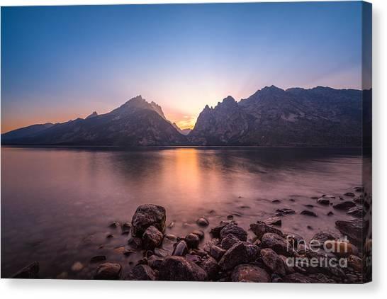 Jenny Lake Canvas Print - Jenny Lake Sunset Grand Teton Np by Michael Ver Sprill