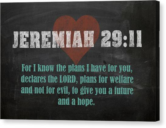 Bible Verses Canvas Print - Jeremiah 29 11 Inspirational Quote Bible Verses On Chalkboard Art by Design Turnpike