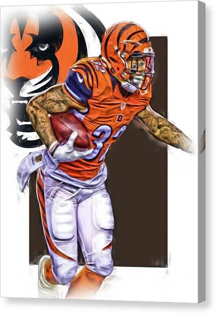 Cincinnati Bengals Canvas Print - Jeremy Hill Cincinnati Bengals Oil Art by Joe Hamilton