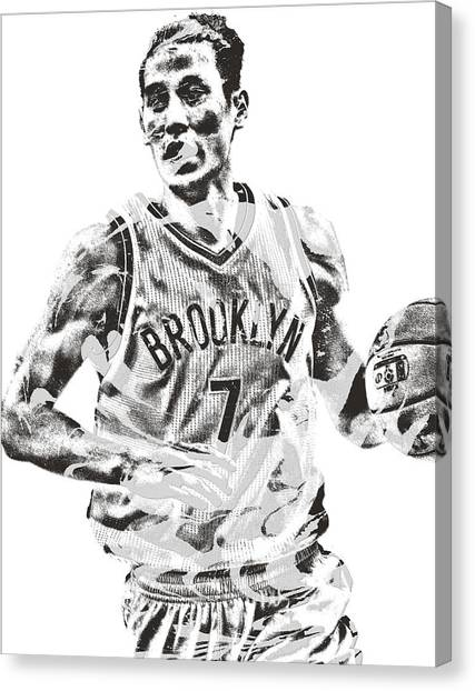 Brooklyn Nets Canvas Print - Jeremy Lin Brooklyn Nets Pixel Art 1 by Joe Hamilton