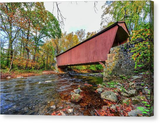 Jericho Covered Bridge In Maryland During Autumn Canvas Print