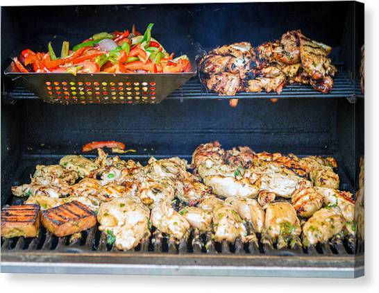 Jerk Chicken And Veggies On Grill Canvas Print by Toni Thomas