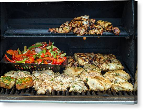 Jerk Chicken With Veggies On Grill Canvas Print by Toni Thomas