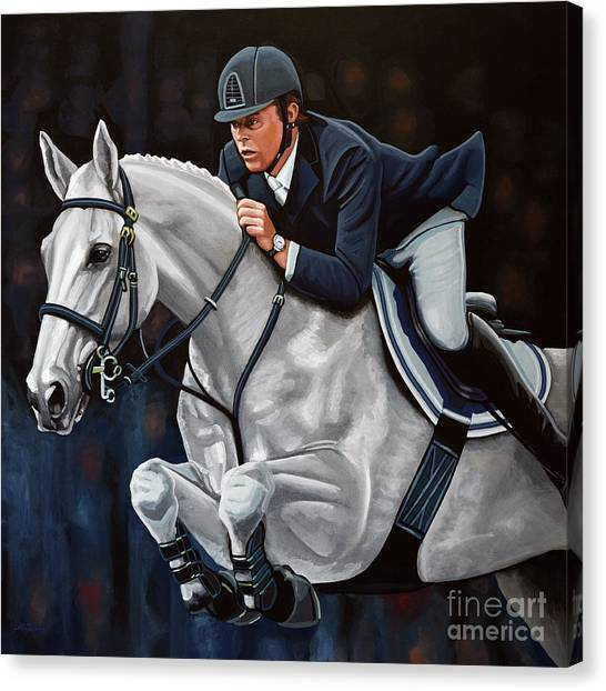 Equestrian Canvas Print - Jeroen Dubbeldam On The Sjiem by Paul Meijering