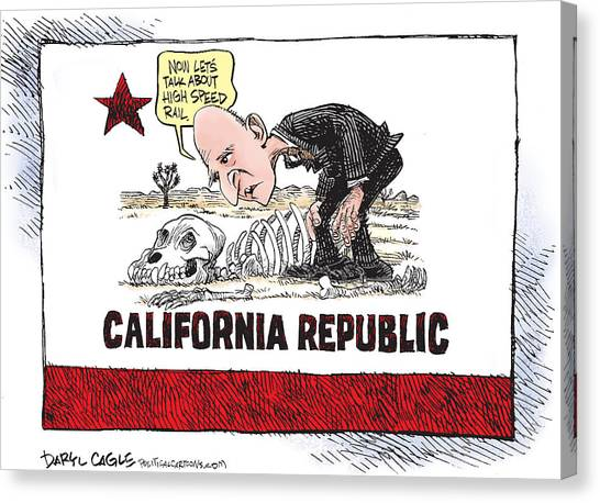 Canvas Print featuring the drawing Jerry Brown - California Drought And High Speed Rail by Daryl Cagle