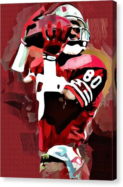 Jerry Rice Canvas Print - Jerry Rice by Bob Smerecki