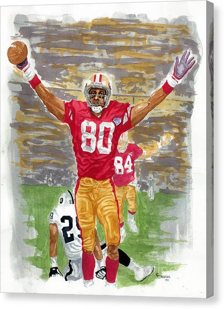 Jerry Rice Canvas Print - Jerry Rice The Greatest by George  Brooks
